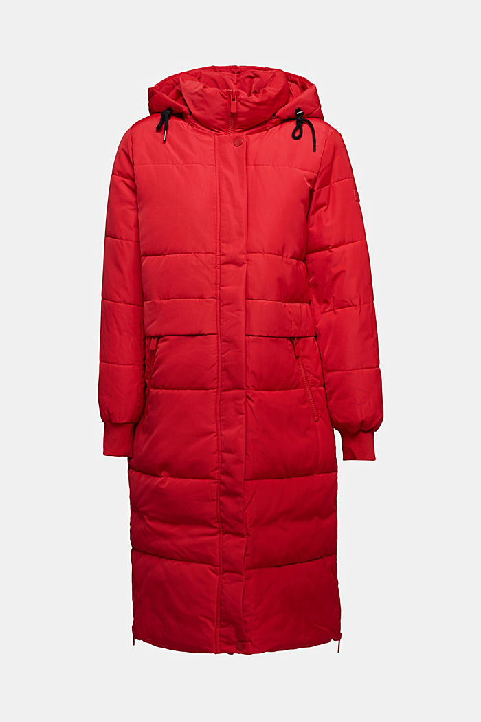 Recycled: padded quilted coat with hood, RED, detail image number 6