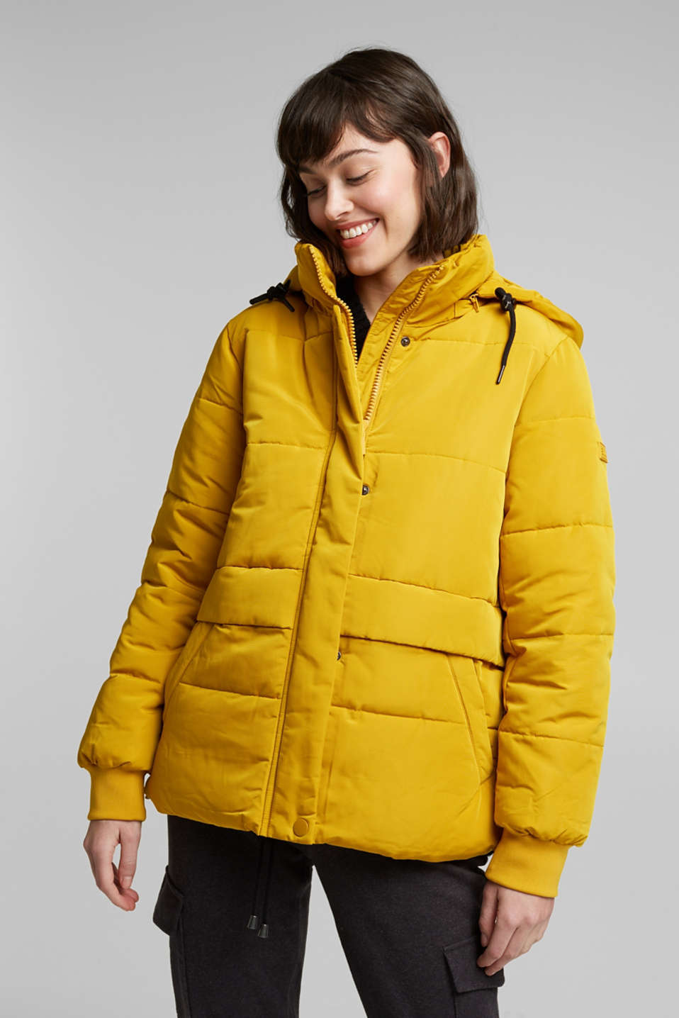 edc - Recycled: padded quilted jacket with hood