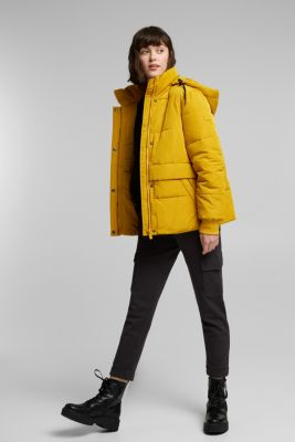 Recycled: padded quilted jacket with hood, BRASS YELLOW, detail