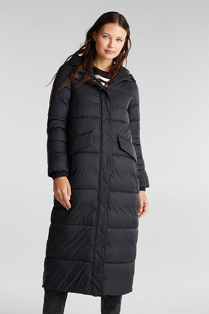 Recycled: quilted coat with hood