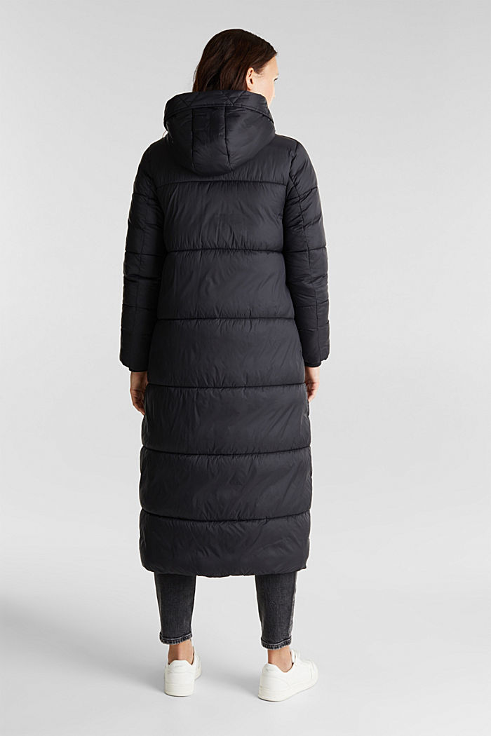 Recycled: quilted coat with hood, BLACK, detail image number 3