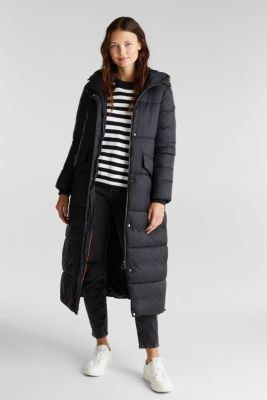 Recycled: quilted coat with hood, BLACK, detail