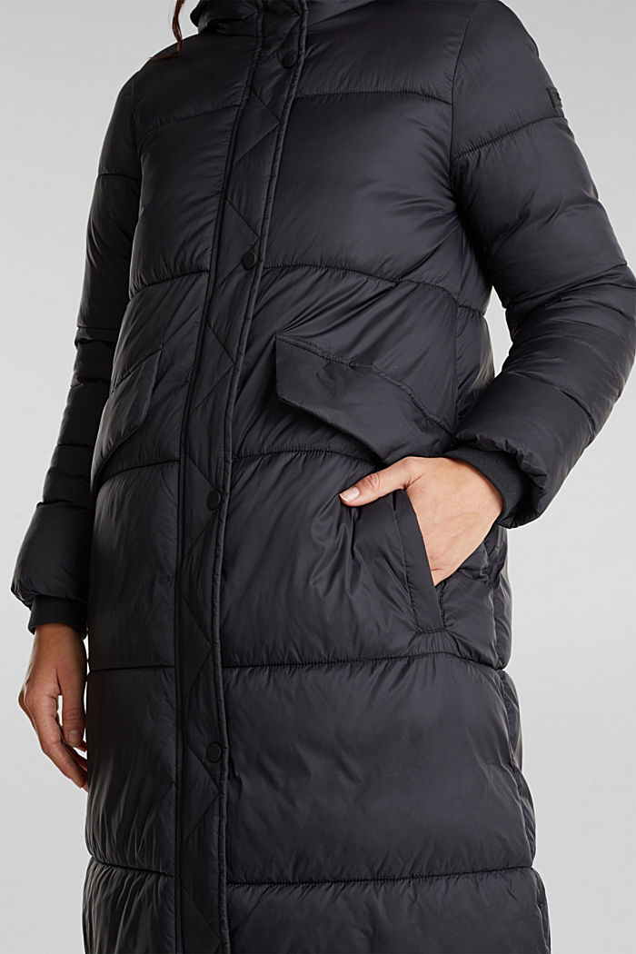 Recycled: quilted coat with hood, BLACK, detail image number 2
