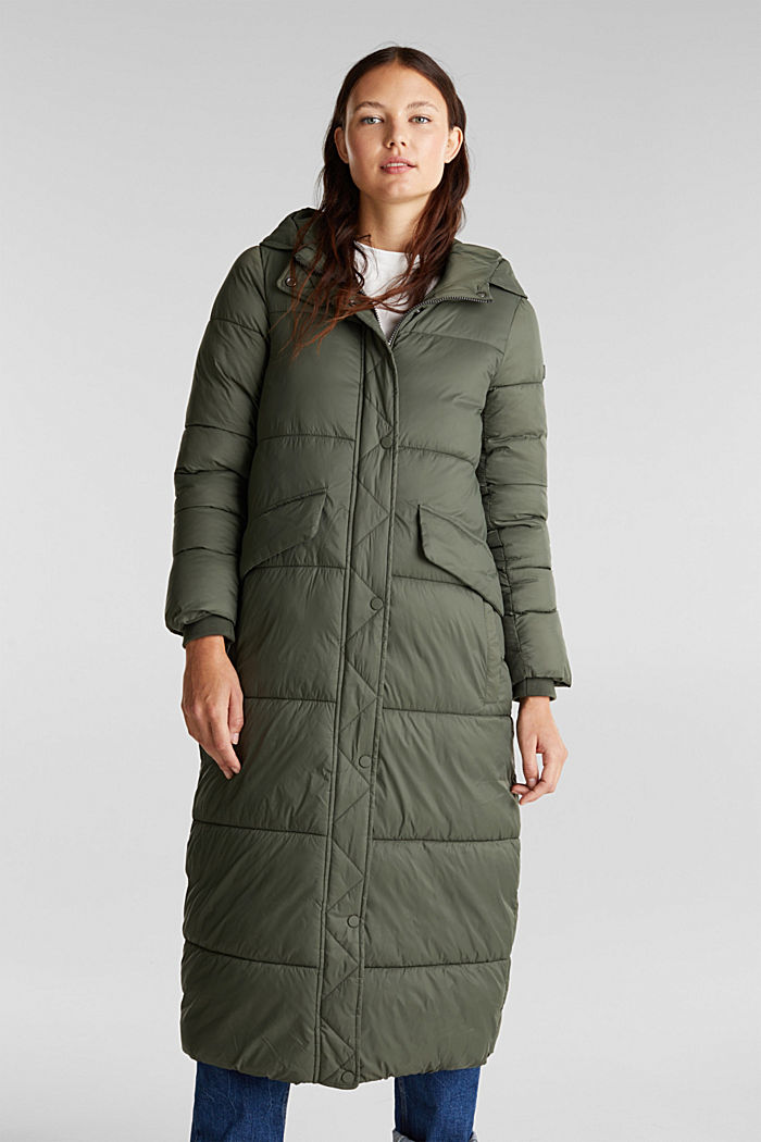 Recycled: quilted coat with hood, KHAKI GREEN, detail image number 0