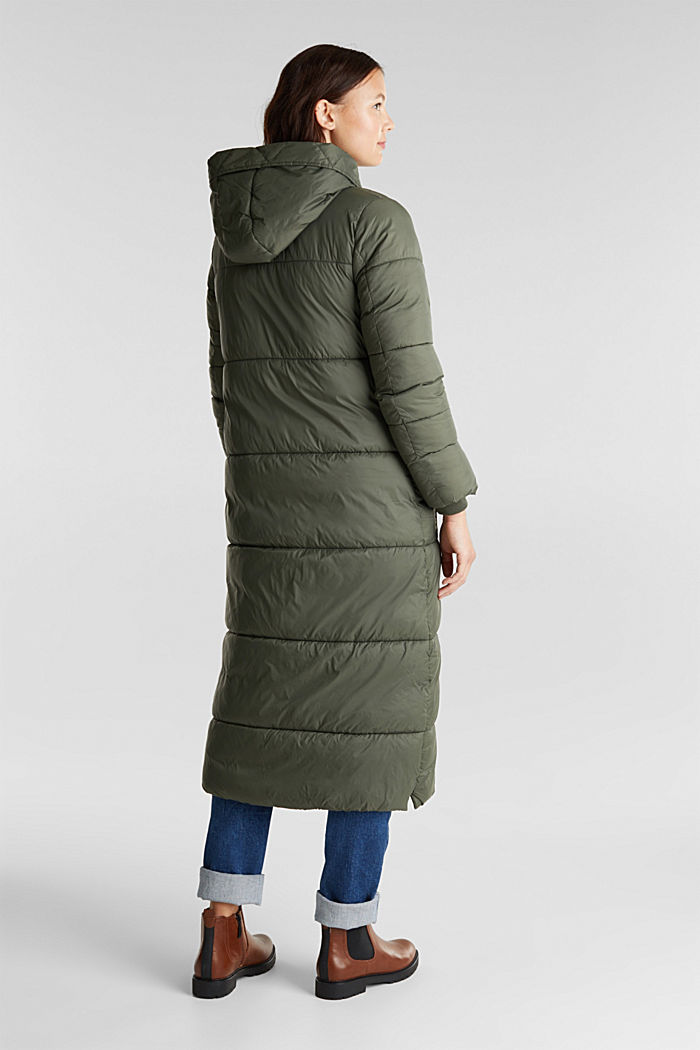 Recycled: quilted coat with hood, KHAKI GREEN, detail image number 3