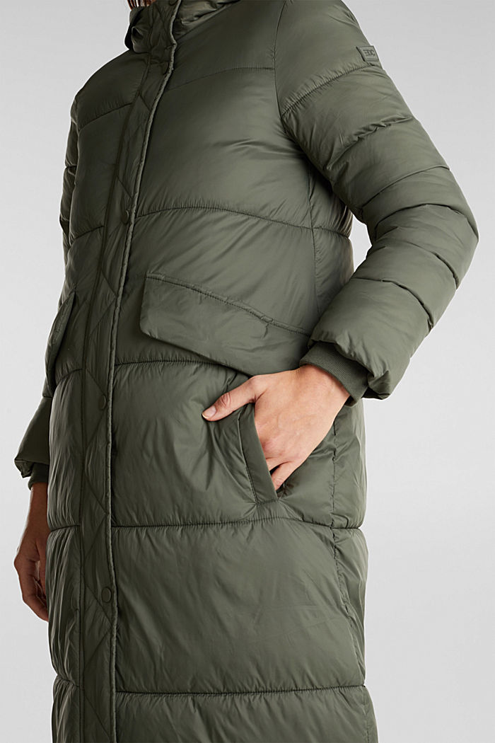 Recycled: quilted coat with hood, KHAKI GREEN, detail image number 2