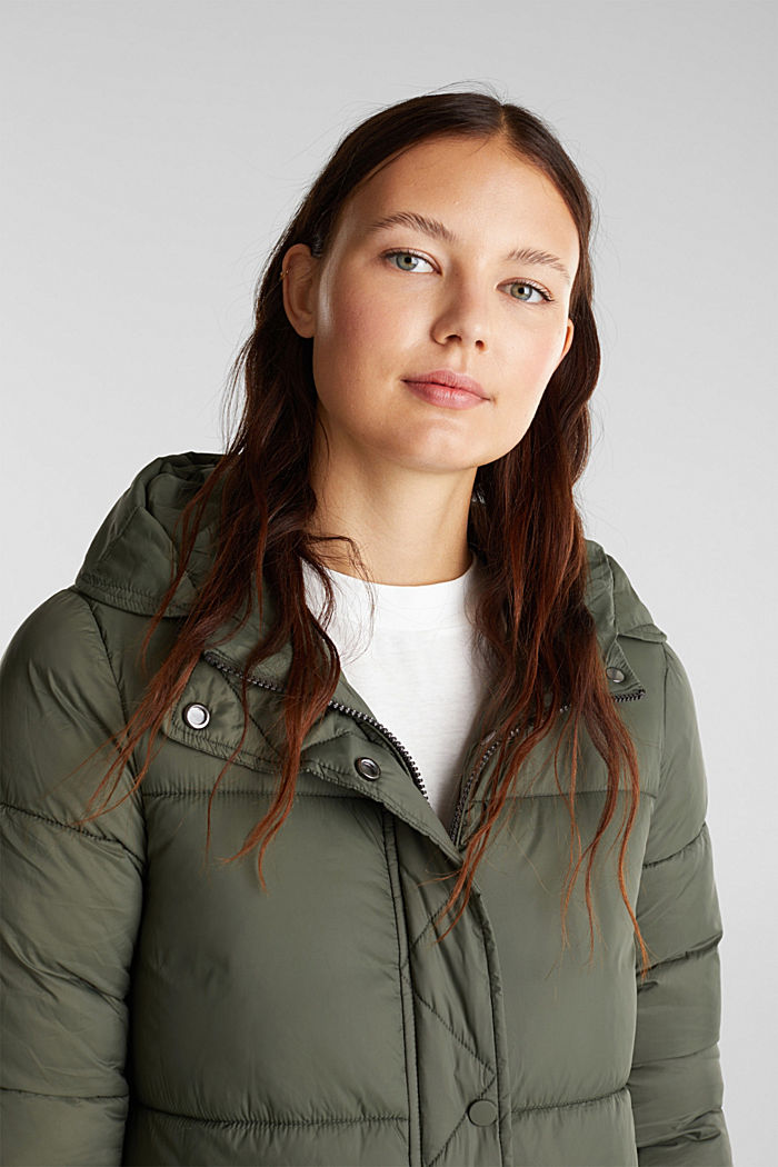 Recycled: quilted coat with hood, KHAKI GREEN, detail image number 5