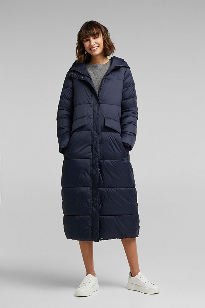 Recycled: quilted coat with hood, NAVY, detail image number 0