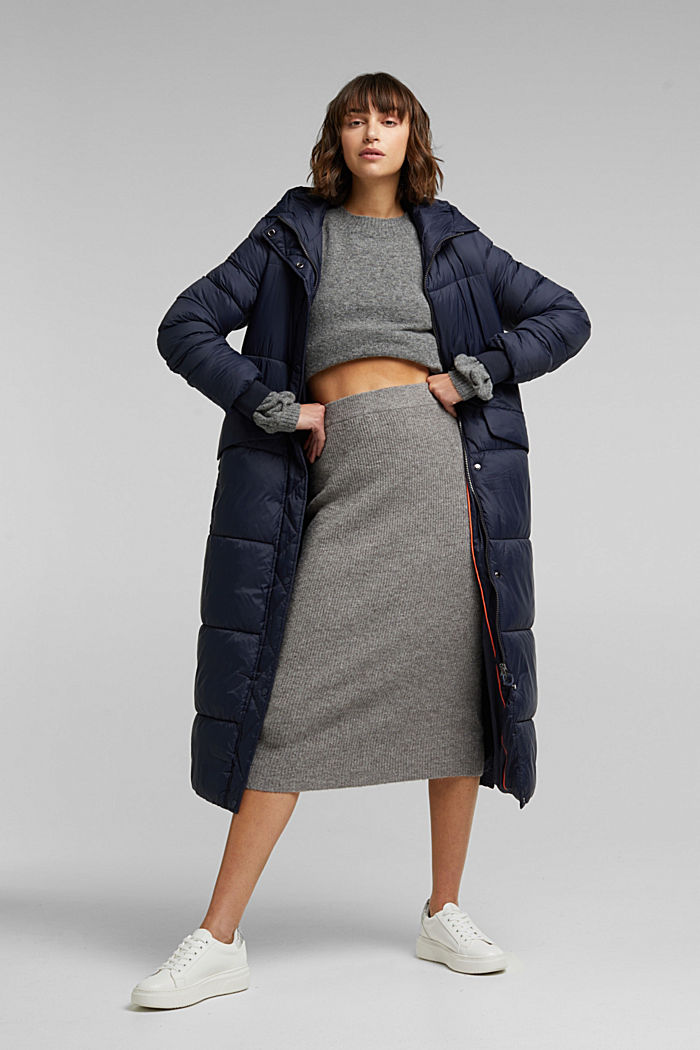 Recycled: quilted coat with hood, NAVY, detail image number 1