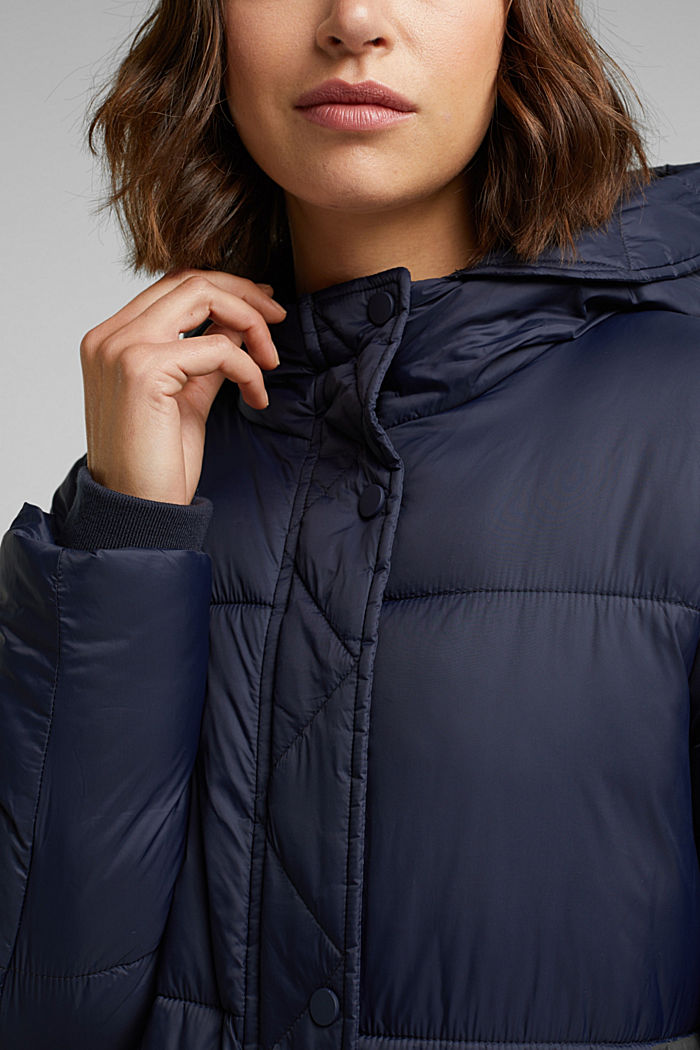 Recycled: quilted coat with hood, NAVY, detail image number 2
