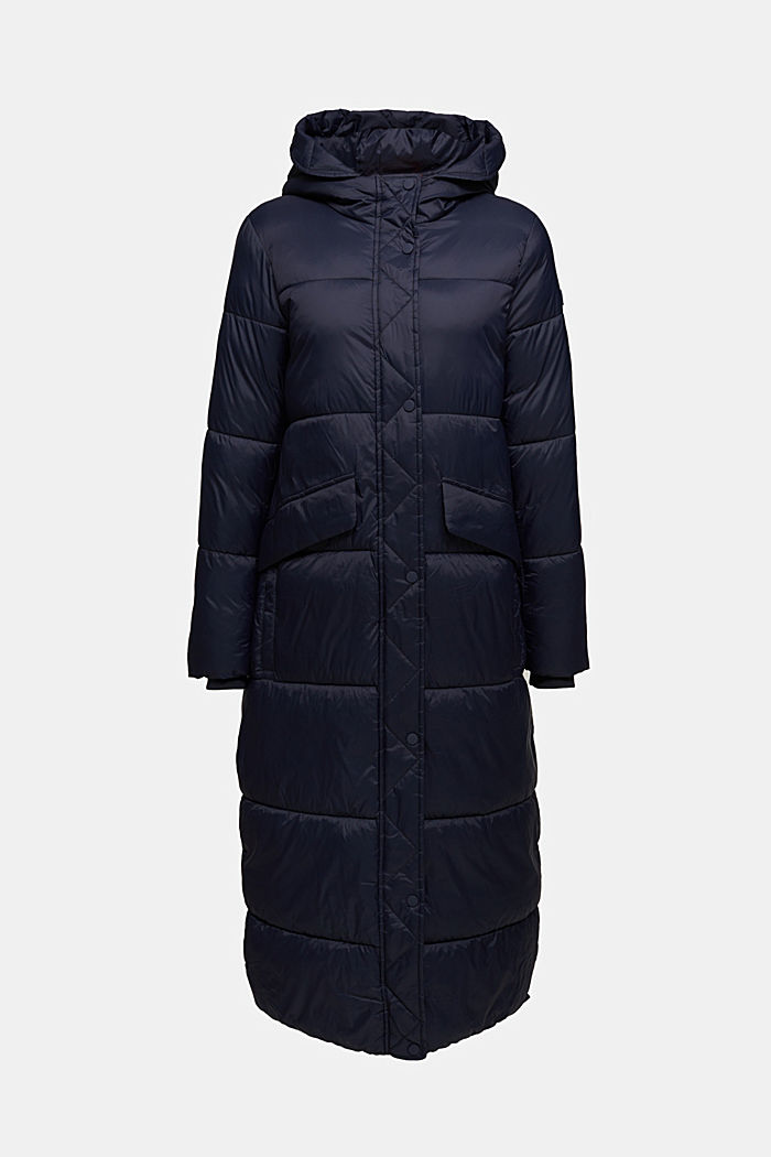 Recycled: quilted coat with hood, NAVY, detail image number 7