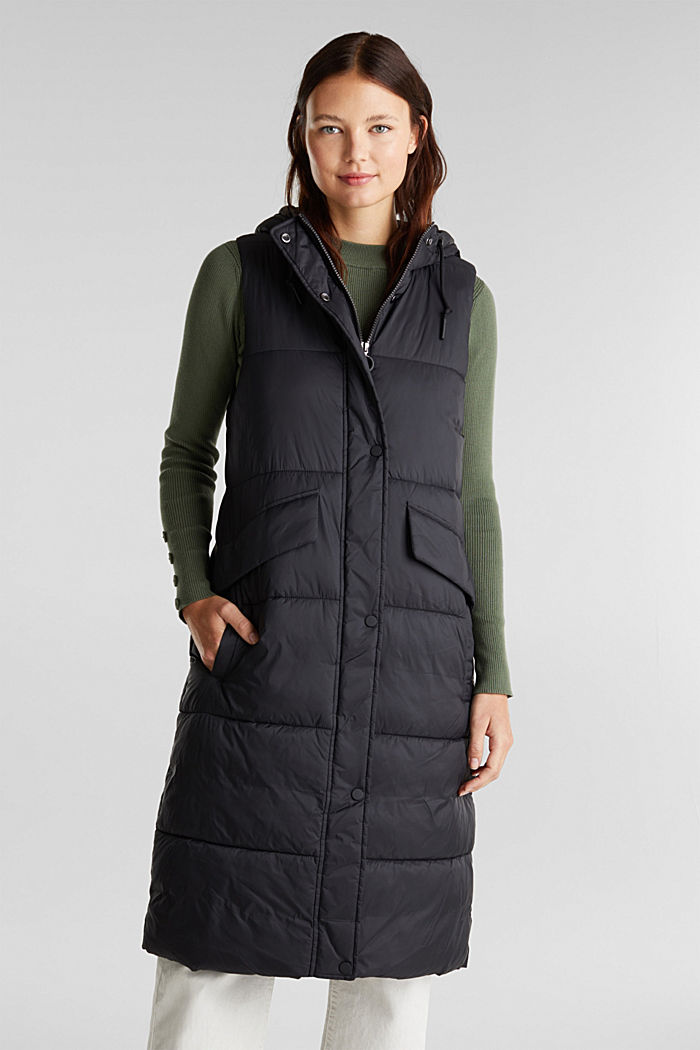 Recycled: quilted bodywarmer made of nylon, BLACK, detail image number 0