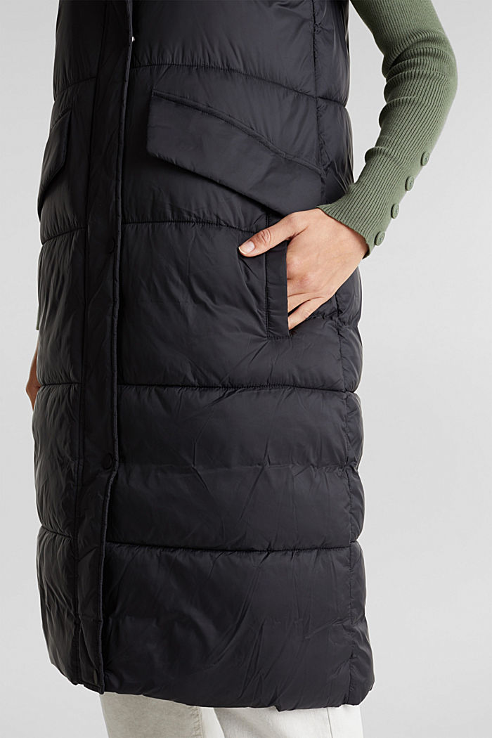 Recycled: quilted bodywarmer made of nylon, BLACK, detail image number 2