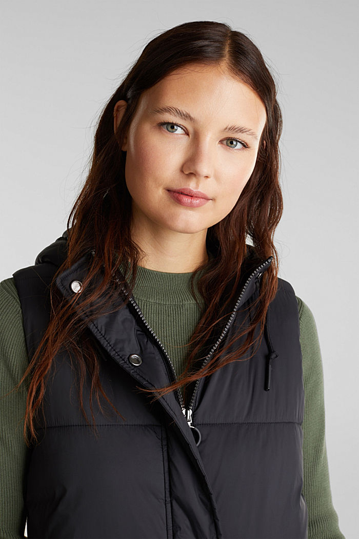 Recycled: quilted bodywarmer made of nylon, BLACK, detail image number 5