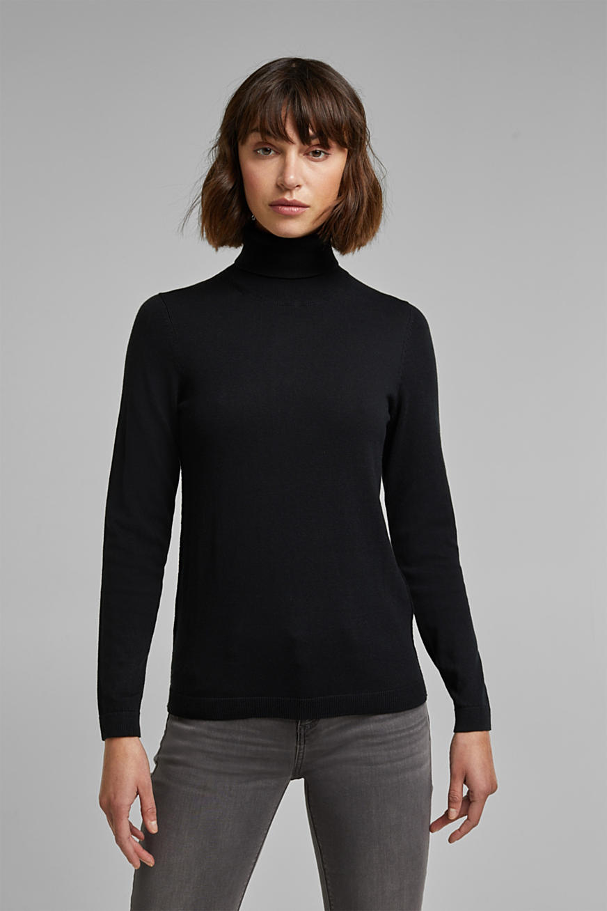 Polo neck jumper with organic cotton