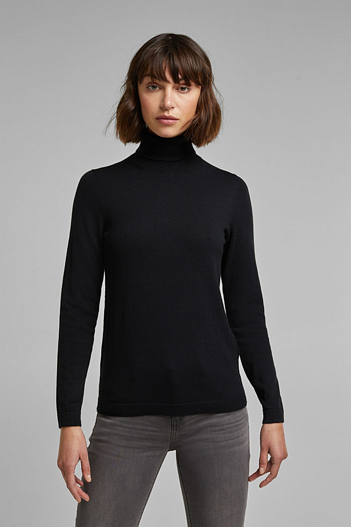 Polo neck jumper with organic cotton, BLACK, detail image number 0