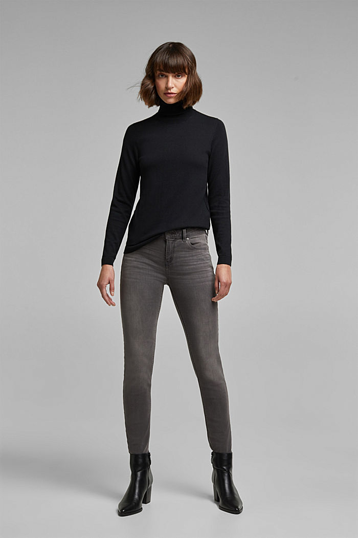 Polo neck jumper with organic cotton, BLACK, detail image number 5