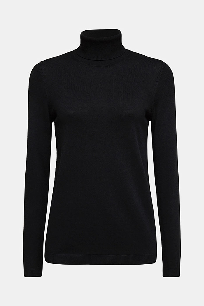 Polo neck jumper with organic cotton, BLACK, detail image number 6