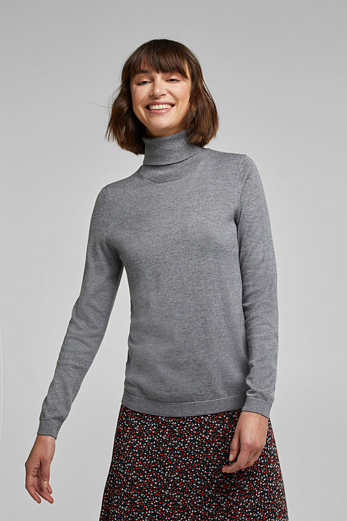 Polo neck jumper with organic cotton, GUNMETAL, detail image number 0