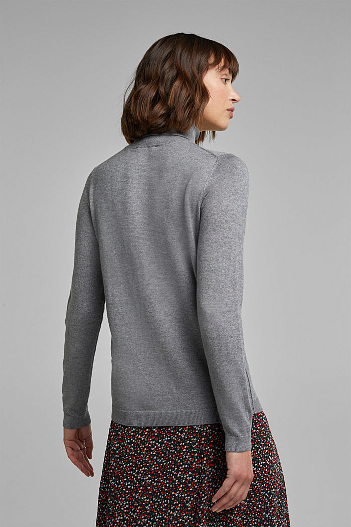Polo neck jumper with organic cotton, GUNMETAL, detail image number 3