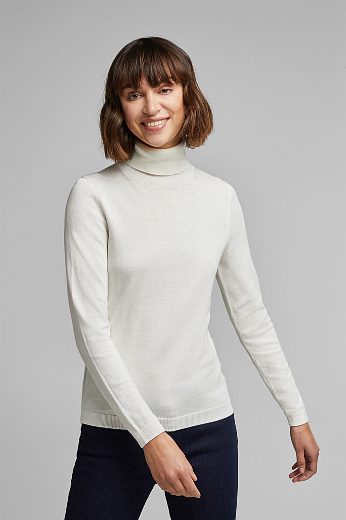 Polo neck jumper with organic cotton, OFF WHITE, detail image number 0