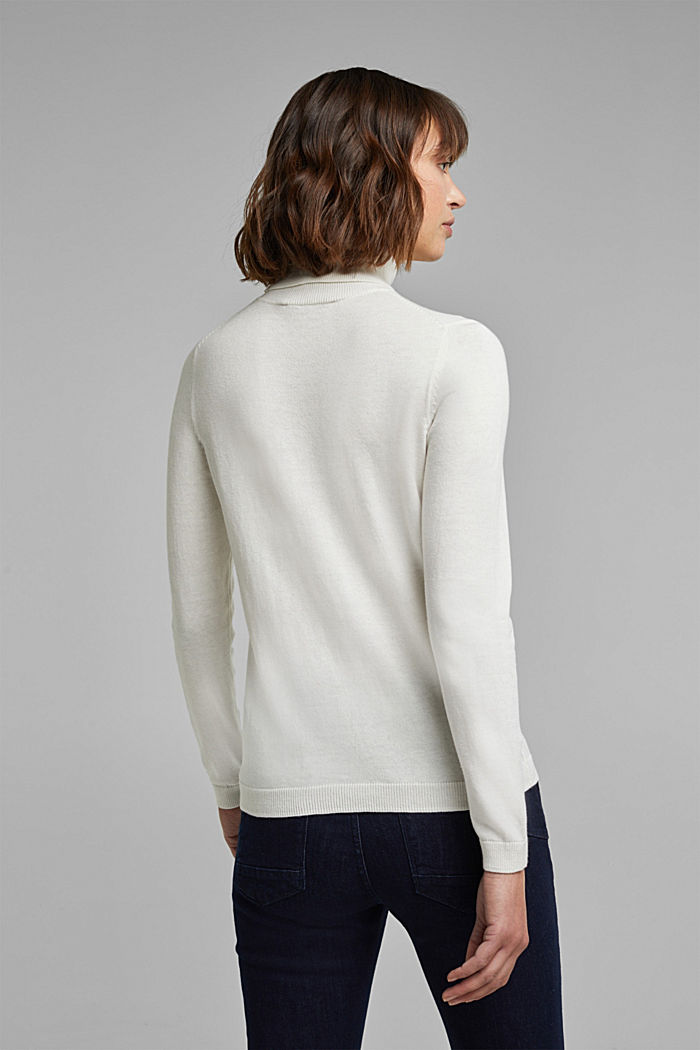 Polo neck jumper with organic cotton, OFF WHITE, detail image number 3