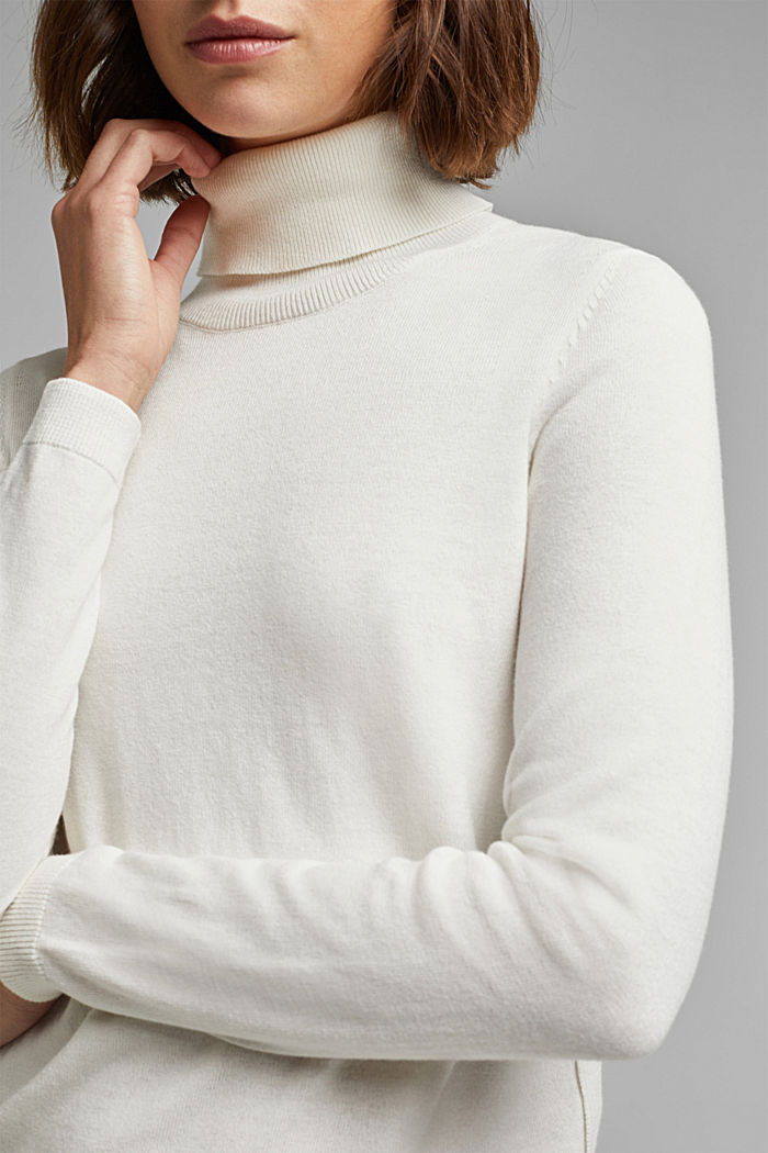 Polo neck jumper with organic cotton, OFF WHITE, detail image number 2
