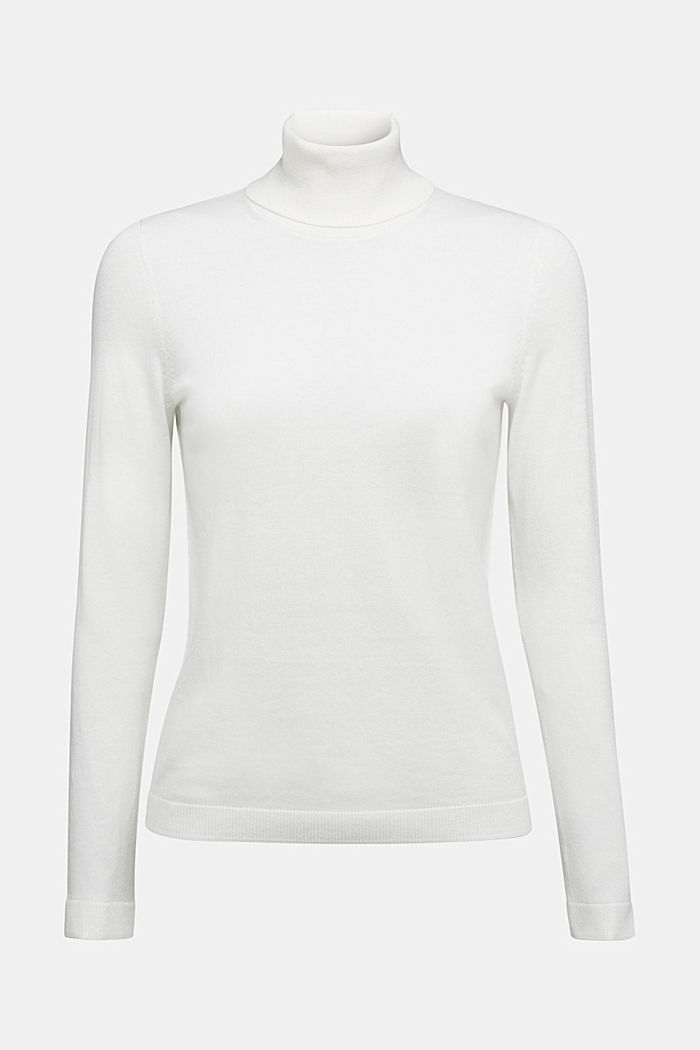 Polo neck jumper with organic cotton, OFF WHITE, detail image number 5