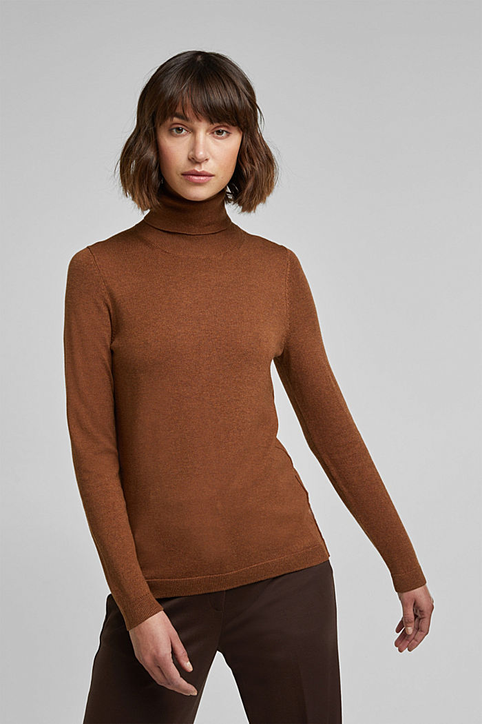 Polo neck jumper with organic cotton, TOFFEE, detail image number 0