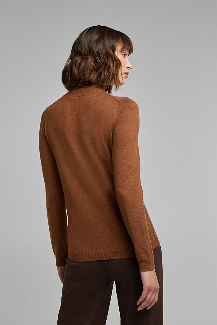 Polo neck jumper with organic cotton, TOFFEE, detail image number 3