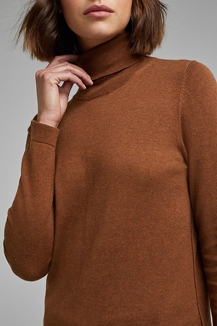Polo neck jumper with organic cotton, TOFFEE, detail image number 2