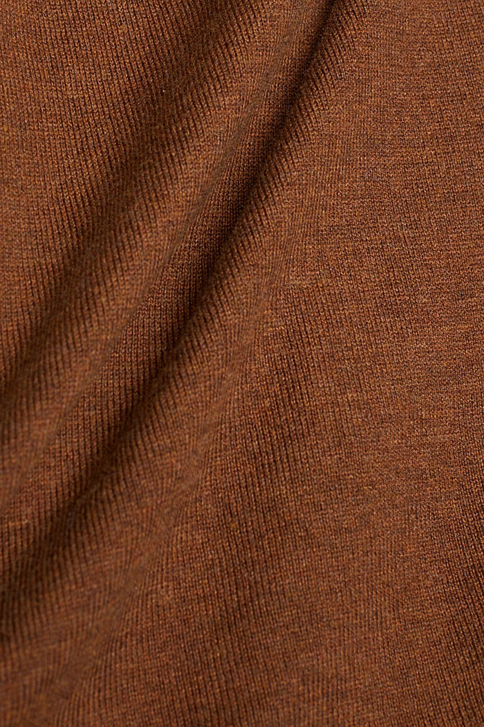 Polo neck jumper with organic cotton, TOFFEE, detail image number 4