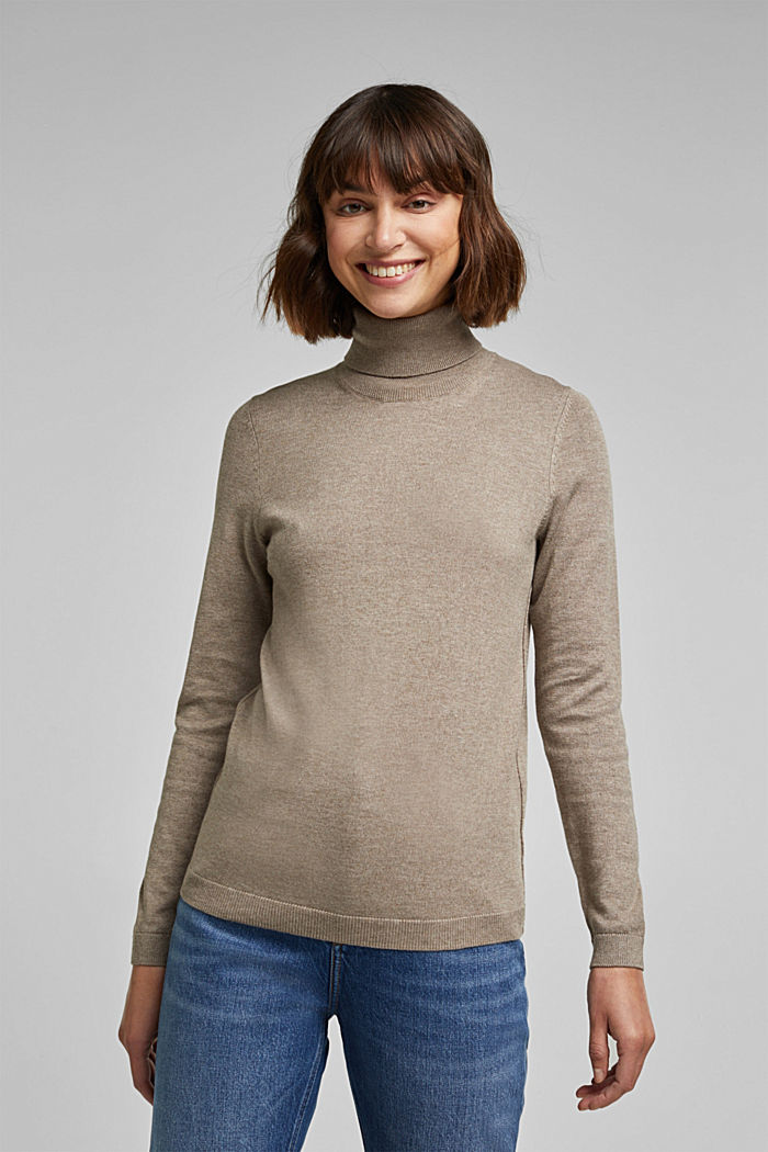 Polo neck jumper with organic cotton, TAUPE, detail image number 0