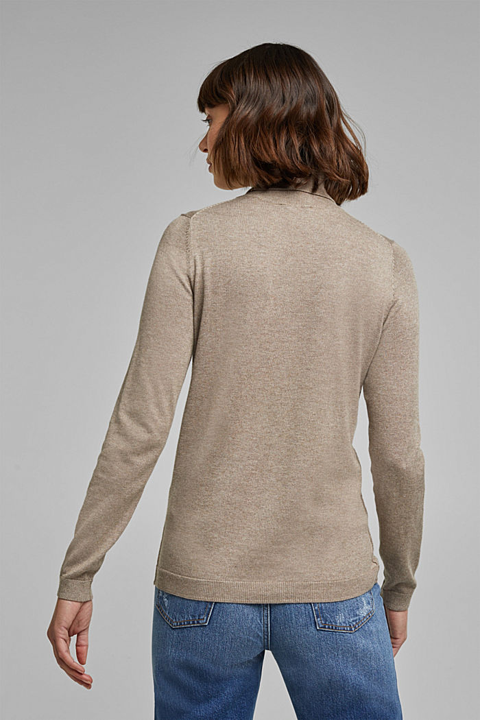 Polo neck jumper with organic cotton, TAUPE, detail image number 3