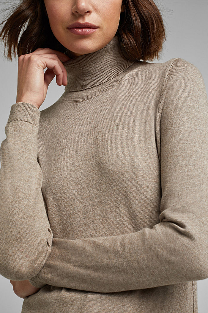 Polo neck jumper with organic cotton, TAUPE, detail image number 2