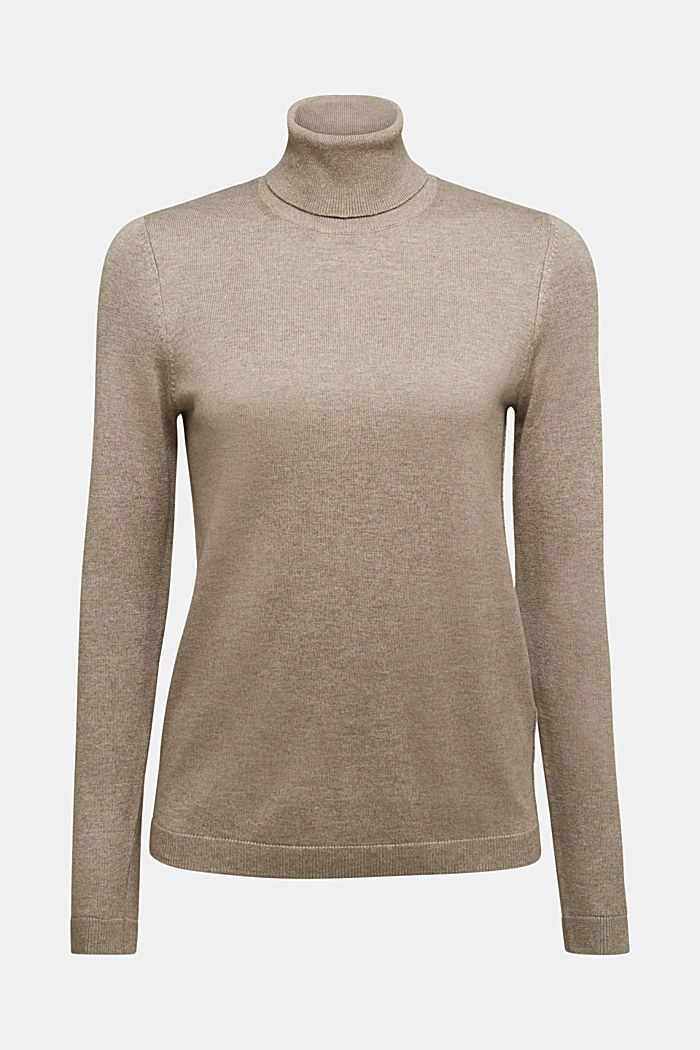 Polo neck jumper with organic cotton, TAUPE, detail image number 5