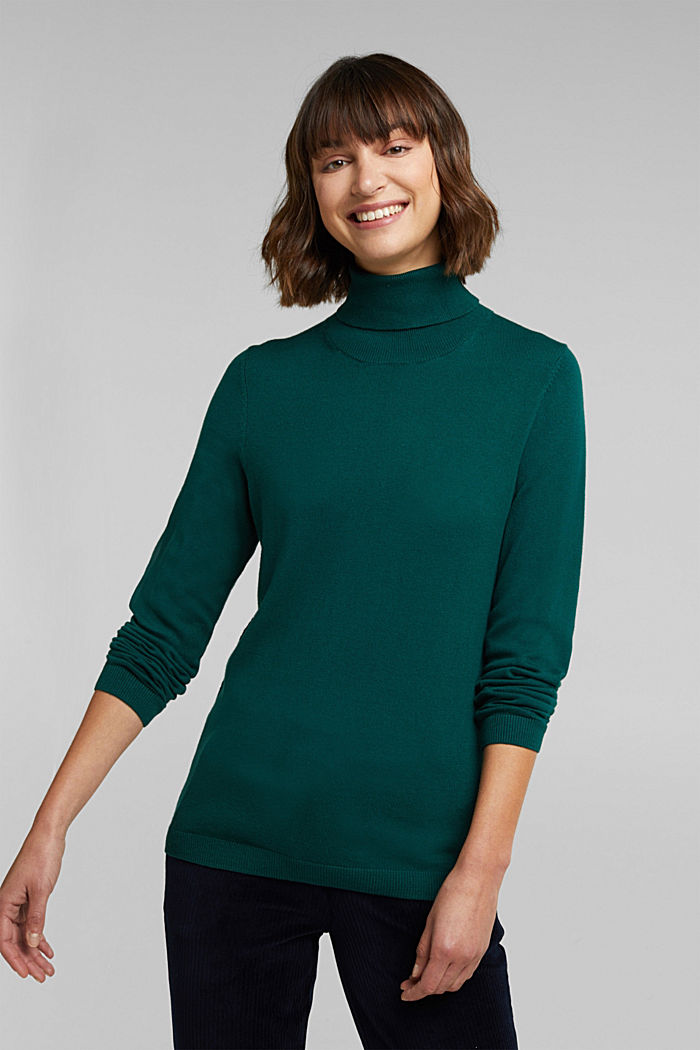 Polo neck jumper with organic cotton, DARK TEAL GREEN, detail image number 0