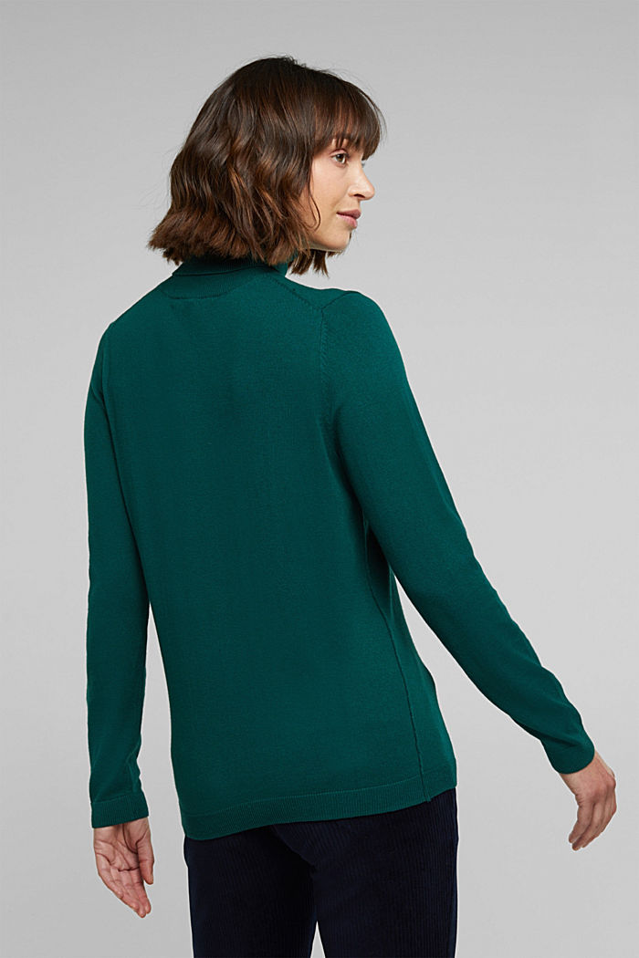 Polo neck jumper with organic cotton, DARK TEAL GREEN, detail image number 3