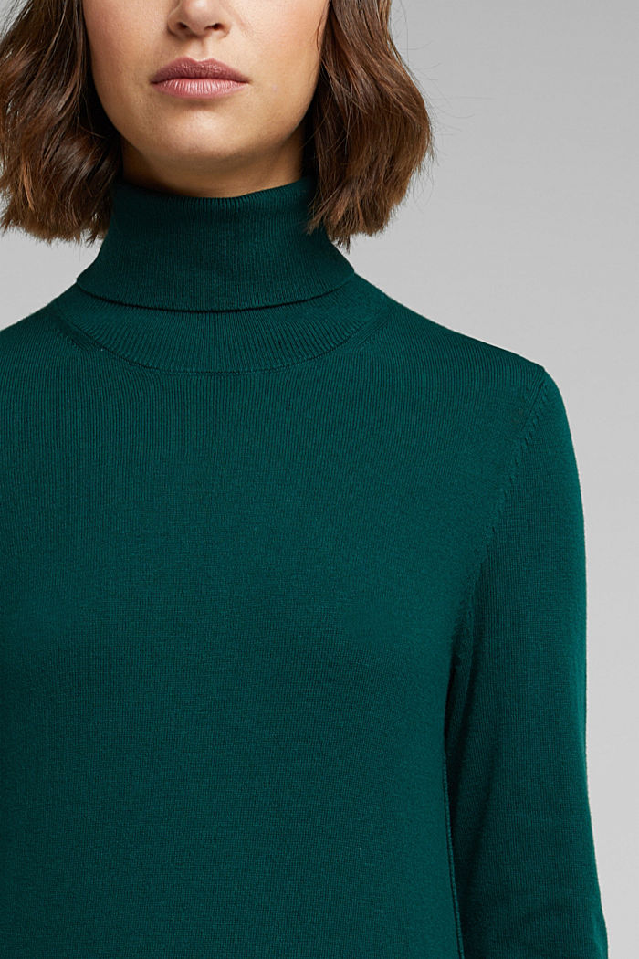 Polo neck jumper with organic cotton, DARK TEAL GREEN, detail image number 2