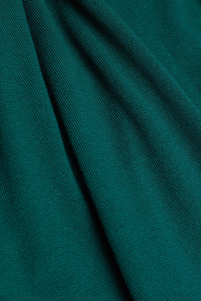 Polo neck jumper with organic cotton, DARK TEAL GREEN, detail image number 4
