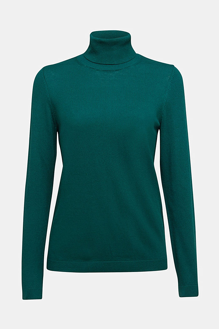 Polo neck jumper with organic cotton, DARK TEAL GREEN, detail image number 6