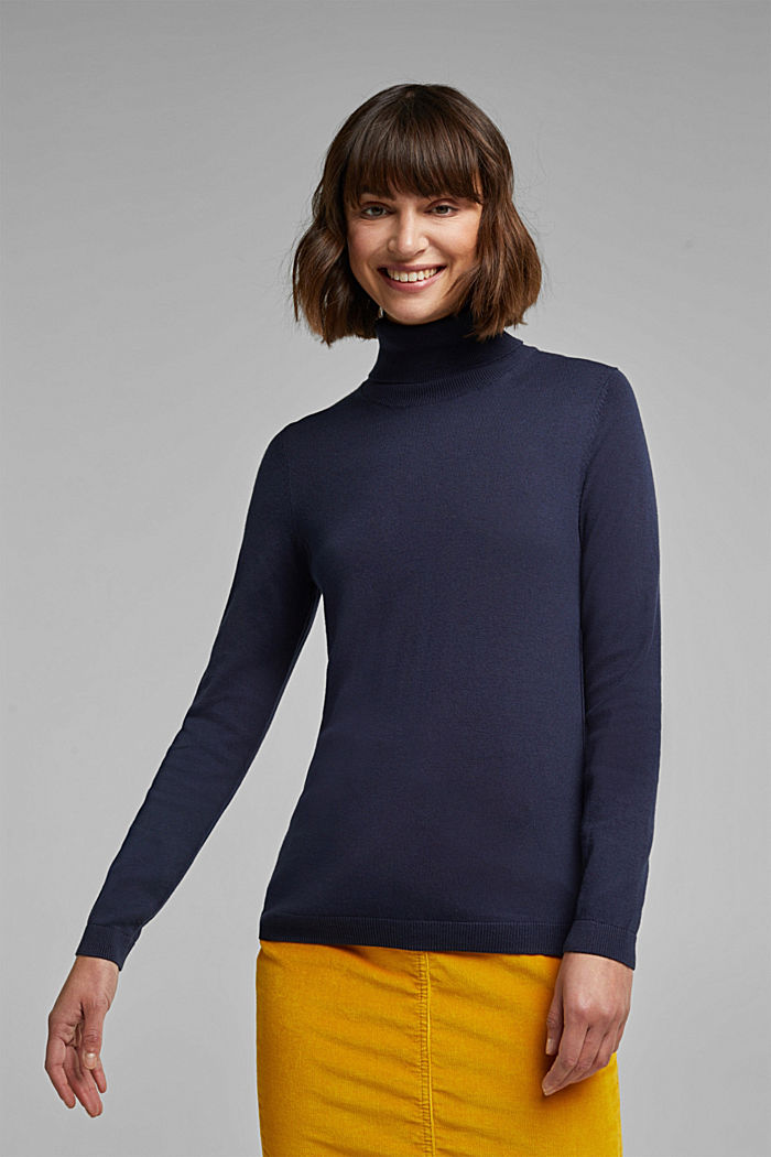 Polo neck jumper with organic cotton, NAVY, detail image number 0