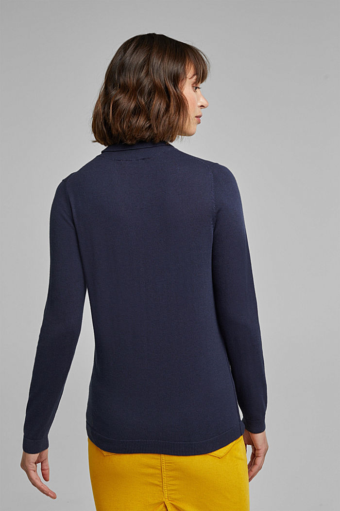Polo neck jumper with organic cotton, NAVY, detail image number 3
