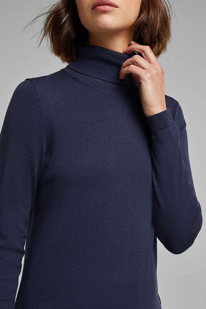 Polo neck jumper with organic cotton, NAVY, detail image number 2