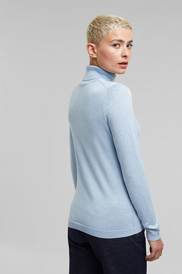 Polo neck jumper with organic cotton, LIGHT BLUE, detail image number 3