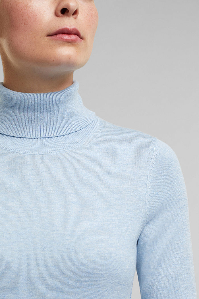Polo neck jumper with organic cotton, LIGHT BLUE, detail image number 2