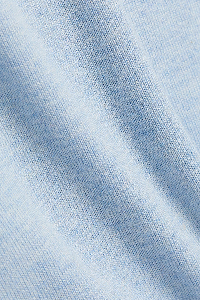 Polo neck jumper with organic cotton, LIGHT BLUE, detail image number 4