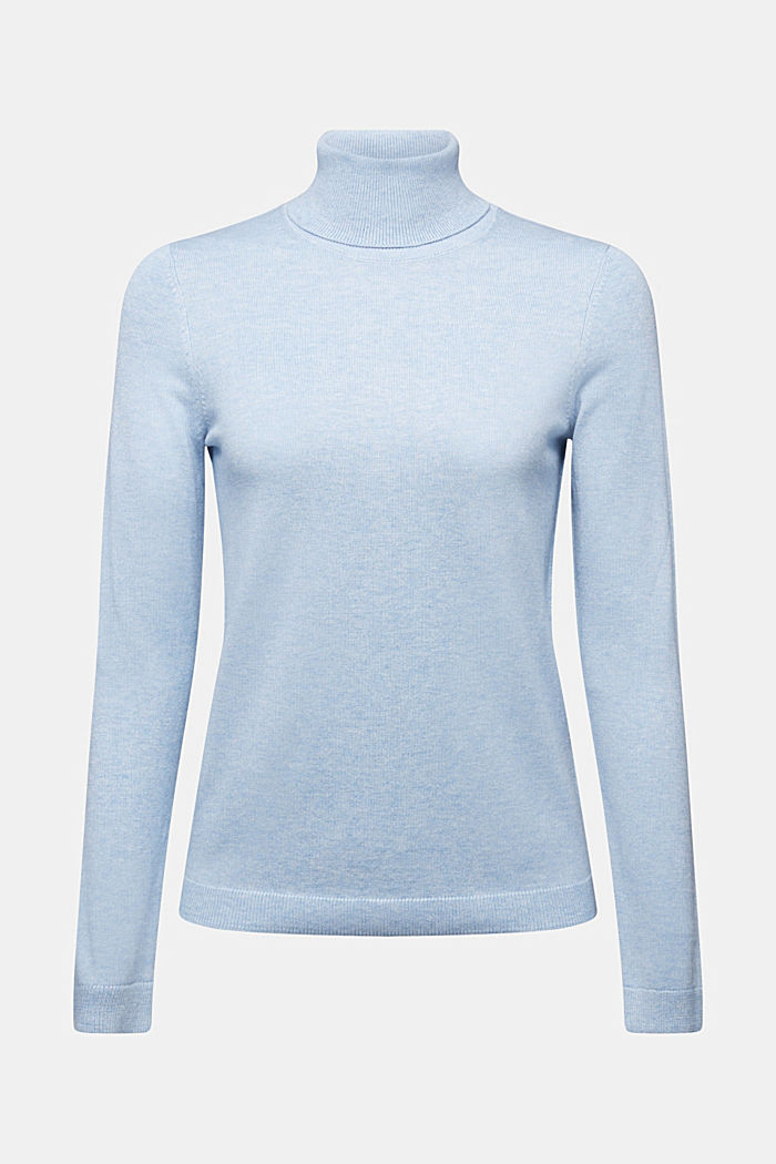 Polo neck jumper with organic cotton, LIGHT BLUE, detail image number 6