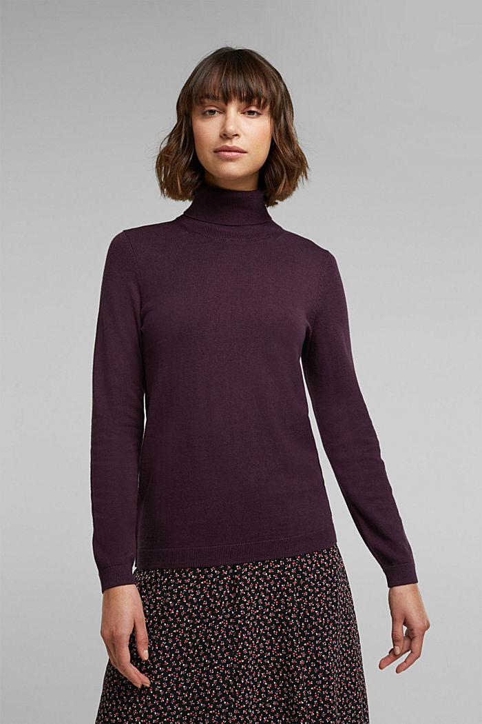 Polo neck jumper with organic cotton, AUBERGINE, detail image number 0