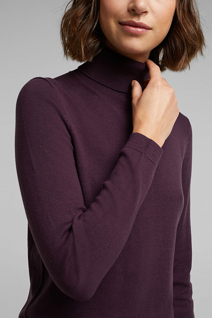 Polo neck jumper with organic cotton, AUBERGINE, detail image number 2